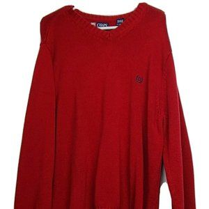 Chap's Men's SZ:XL Red Sweater With Logo V-Neck